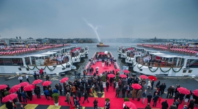 Viking River Cruises christening ceremony in Amsterdam. The company christened a total of 12 new river vessels, including 10 of its award-winning Viking Longships(R) and two custom vessels for the Elbe River.